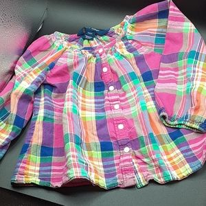 Ralph Lauren 2T Rainbow Plaid Long sleeve Blouse